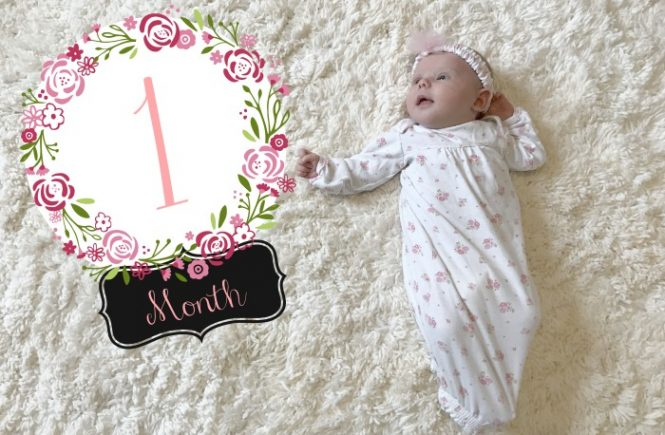 Emma at one month